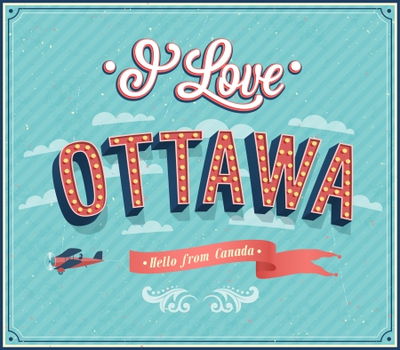 ottawa: Vintage greeting card from Ottawa - Canada. Vector illustration. Illustration