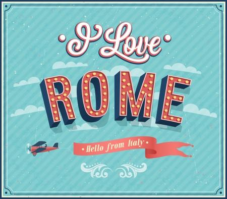 rome italie: Carte de voeux vintage de Rome - Italie. Vector illustration.