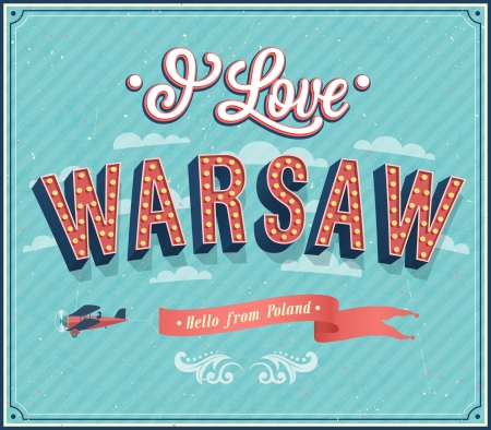 warsaw: Vintage greeting card from Warsaw - Poland. Vector illustration.