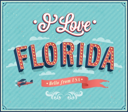 florida state: Vintage greeting card from Florida - USA. Vector illustration.