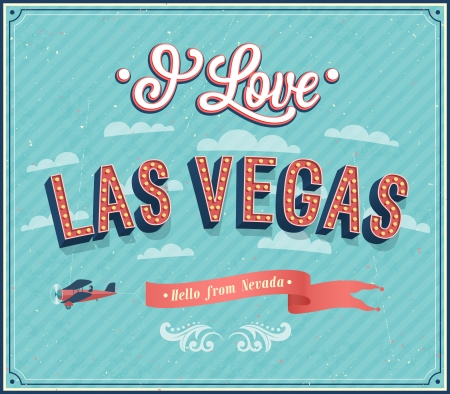 vegas sign: Vintage greeting card from Las Vegas - Nevada. Vector illustration.