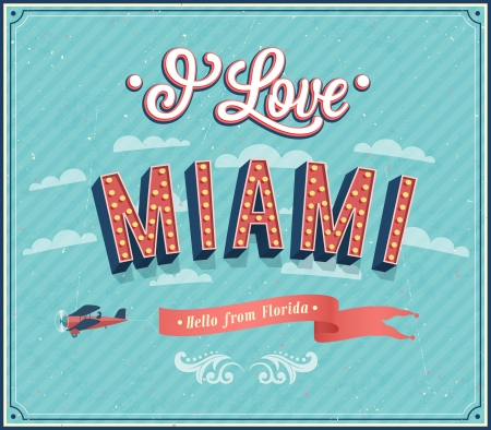 miami florida: Vintage greeting card from Miami - Florida. Vector illustration.
