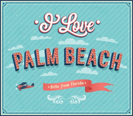 vintage postcard: Vintage greeting card from Palm Beach - Florida. Vector illustration.