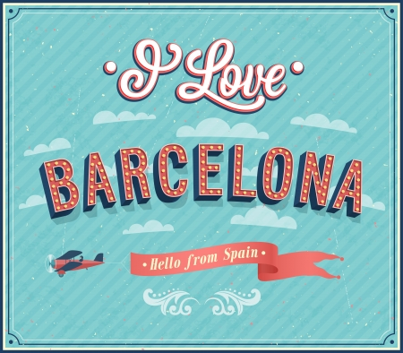 barcelona spain: Vintage greeting card from Barcelona - Spain. Vector illustration.