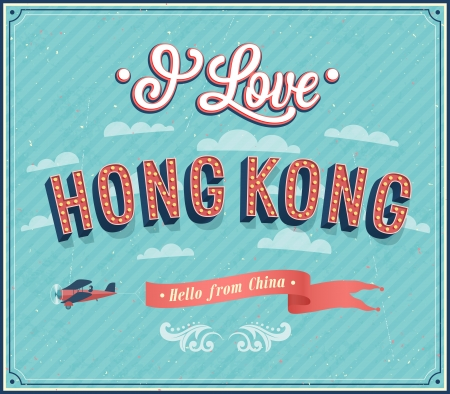 hong kong: Vintage greeting card from Hong Kong - China. Vector illustration. Illustration