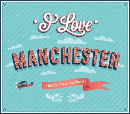 Vintage greeting card from Manchester - England. Vector illustration. Vector