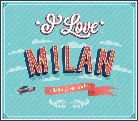 Vintage greeting card from Milan - Italy. Vector illustration.