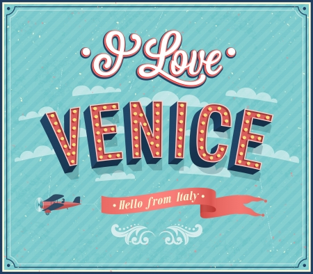 venice italy: Vintage greeting card from Venice - Italy. Vector illustration.