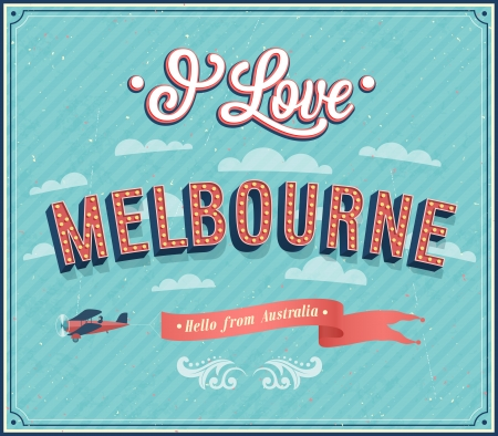 melbourne australia: Vintage greeting card from Melbourne - Australia. Vector illustration. Illustration