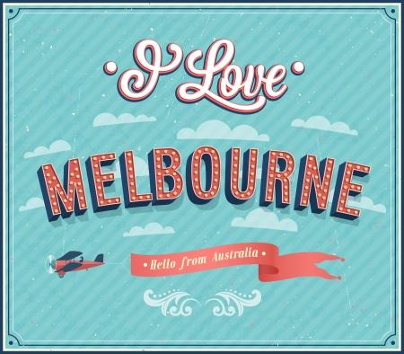 melbourne: Vintage greeting card from Melbourne - Australia. Vector illustration. Illustration