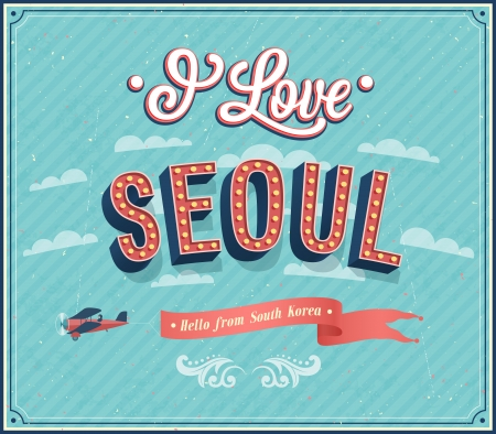 seoul: Vintage greeting card from Seoul - South Korea. Vector illustration.