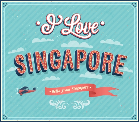 Vintage greeting card from Singapore - Singapore. Vector illustration. Illustration