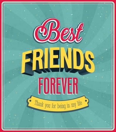 mejores amigas: Mejores amigos para siempre tipográfico diseño ilustración vectorial