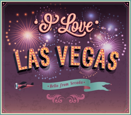 Greeting card from Las Vegas - Nevada  Vector illustration  Vector