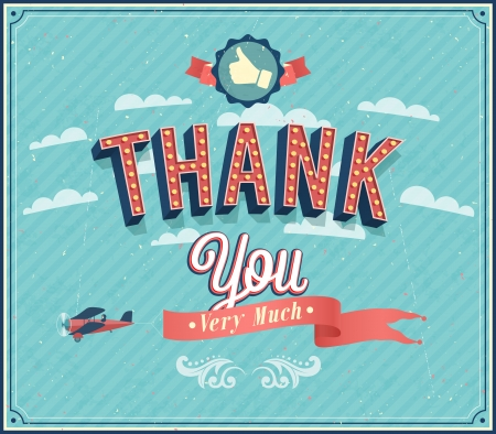 Thank you typographic design  Vector illustration