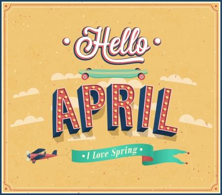 Bonjour avril conception typographique. Vector illustration. Vecteurs