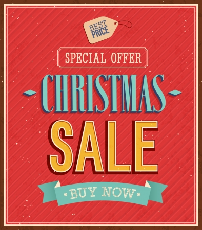 Christmas sale typographic design. Vector illustration. Vector