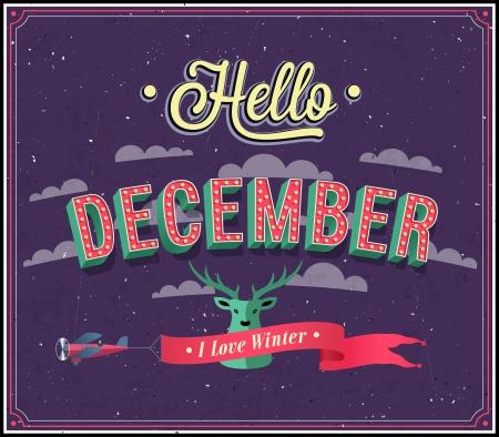 diciembre: Hola diciembre diseño tipográfico. Ilustración del vector.
