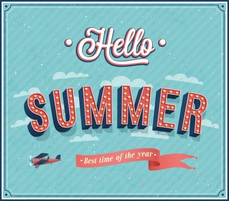 Hello summer typographic design. Vector illustration.