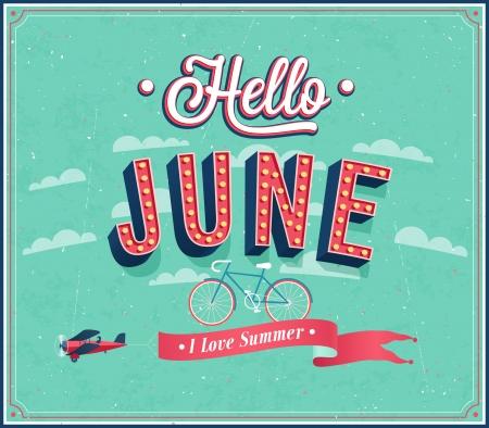 june: Hello june typographic design. Vector illustration.