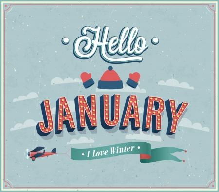 Diseño tipográfico Hola enero. Ilustración del vector. Ilustración de vector
