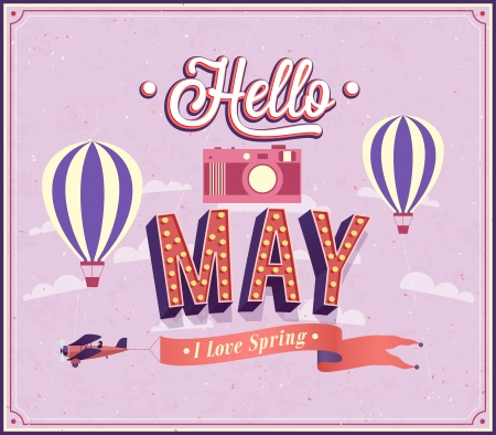 Hello may typographic design. Vector illustration. Иллюстрация