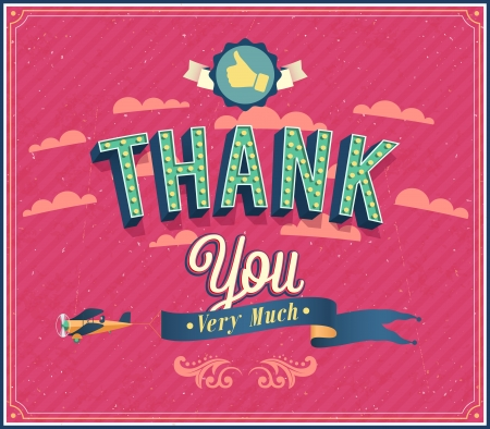 congratulations sign: Thank you typographic design. Vector illustration.