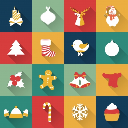 Set of Christmas and New Year objects. Vector illustration. Иллюстрация
