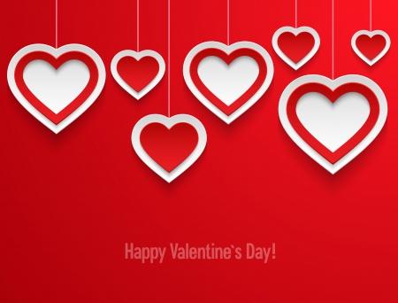 Hanging valentines hearts illustration  Illustration