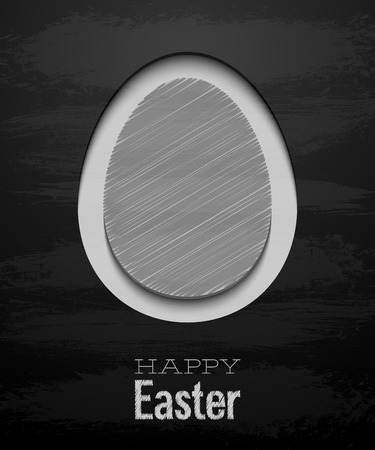 Easter card with egg - Chalkboard. Vector illustration. Vector