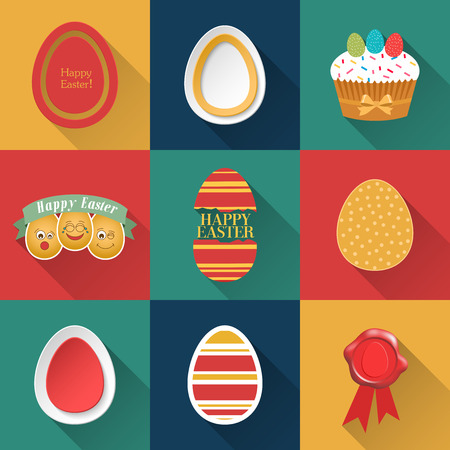 Set of Easter objects. Vector illustration. Vector
