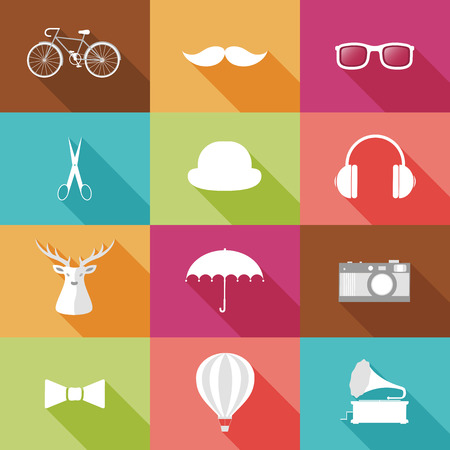 Set of Hipster objects. illustration. Vector