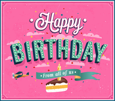 bday: Happy birthday typographic design. Vector illustration. Illustration