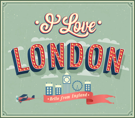 abstract london: Vintage greeting card from London - England. Vector illustration.