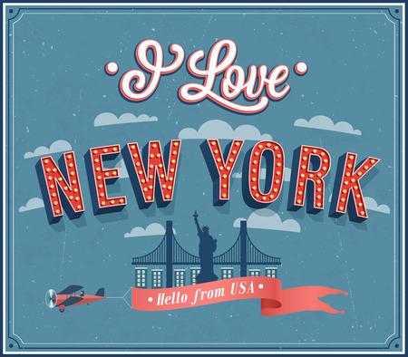 Tarjeta de felicitación del vintage de Nueva York - EE.UU.. Ilustración del vector. Vectores