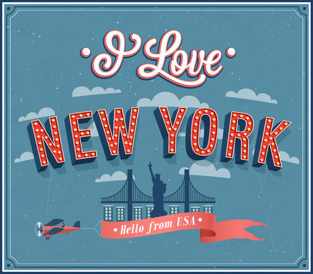 vintage airplane: Vintage greeting card from New York - USA. Vector illustration. Illustration