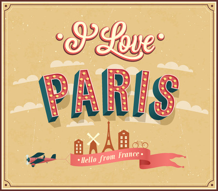Vintage greeting card from Paris - France. Vector illustration. Illustration