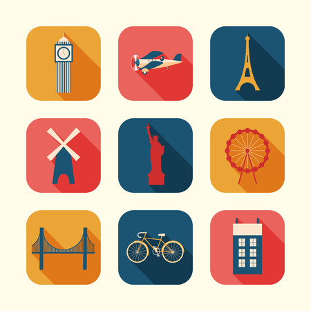 web design bridge: Set of Urban objects. Vector illustration.