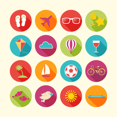 Set of Summer objects. Vector illustration. Vector