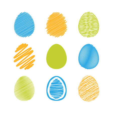 creative egg painting: Set of easter eggs. Vector illustration.