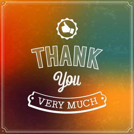 you: Merci conception typographique. Vector illustration.