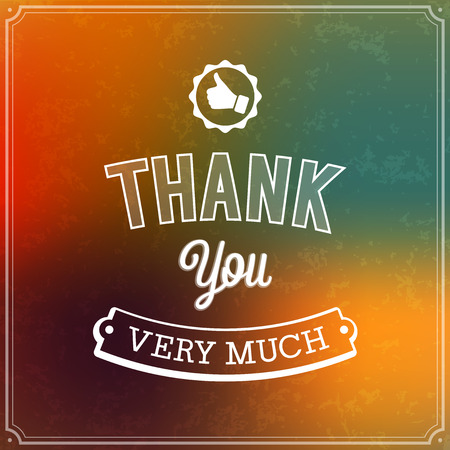 Thank you typographic design. Vector illustration. Vector