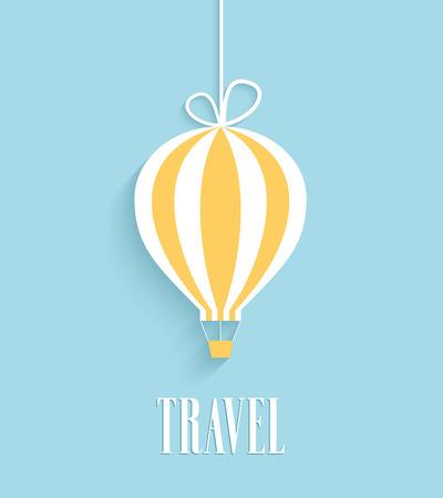 air baloon: Travel card with hanging air balloon.
