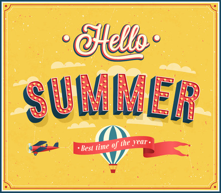 Hello summer typographic design illustration. Иллюстрация