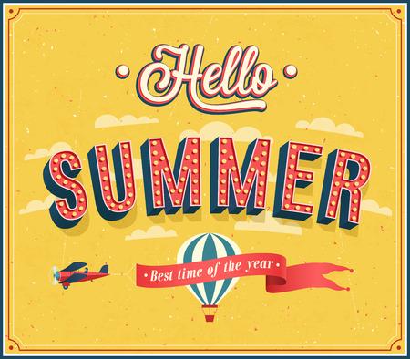 travel card: Hello summer typographic design illustration. Illustration