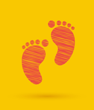 kids artwork: Footprint icon. Vector illustration.
