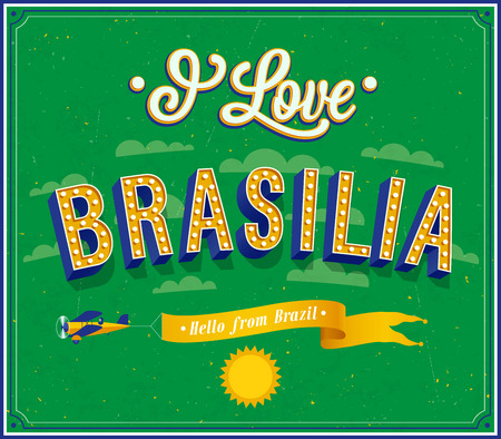 brasilia: Vintage greeting card from Brasilia - Brazil. Vector illustration.