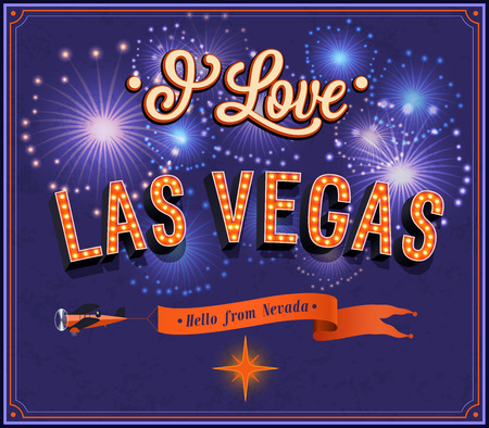 Greeting card from Las Vegas - Nevada. Vector illustration.