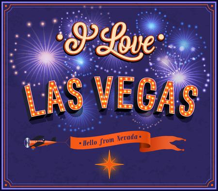 Greeting card from Las Vegas - Nevada. Vector illustration.