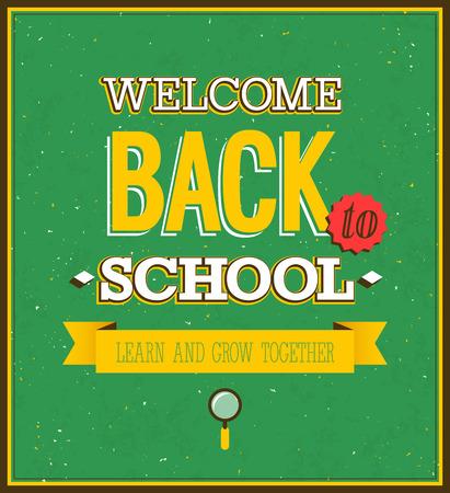 postcard back: Back to school typographic design. Vector illustration.